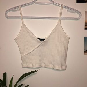 Topshop Ribbed Vneck Crop Top
